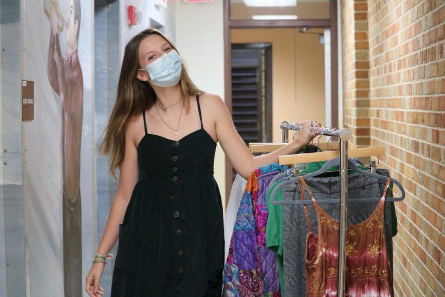 "Chloe Cashman, senior, showing off her ""95% secondhand"" wardrobe."